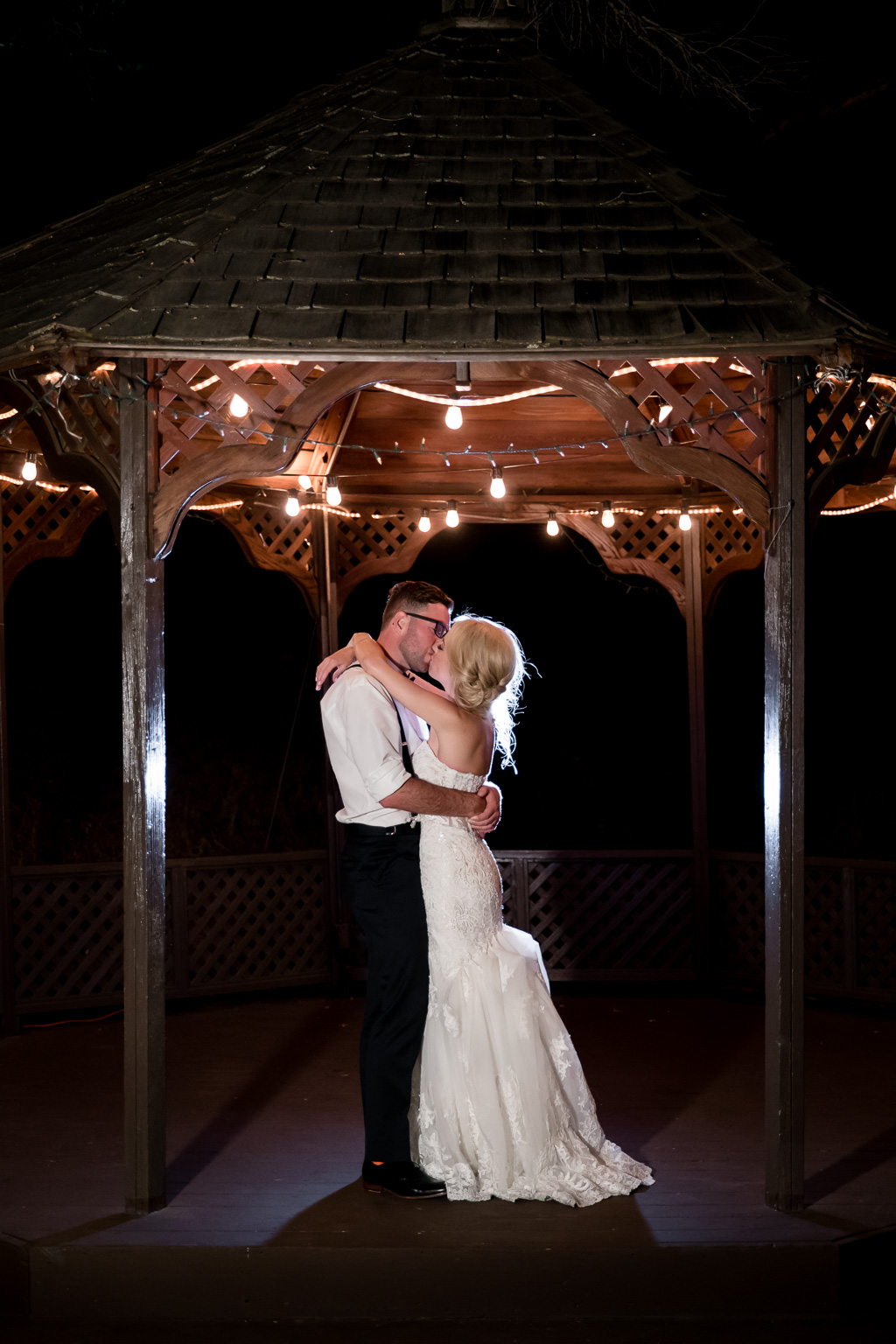 a night photo under the gazebo
