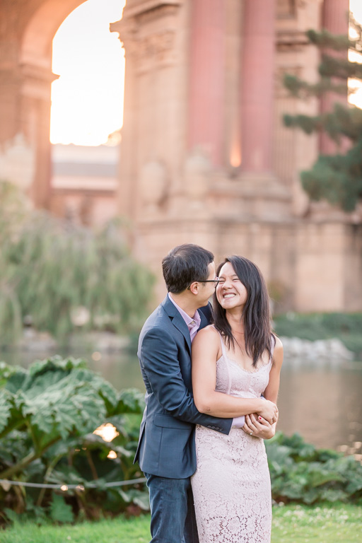 engagement photo in front of the Palace of Fine Arts rotunda