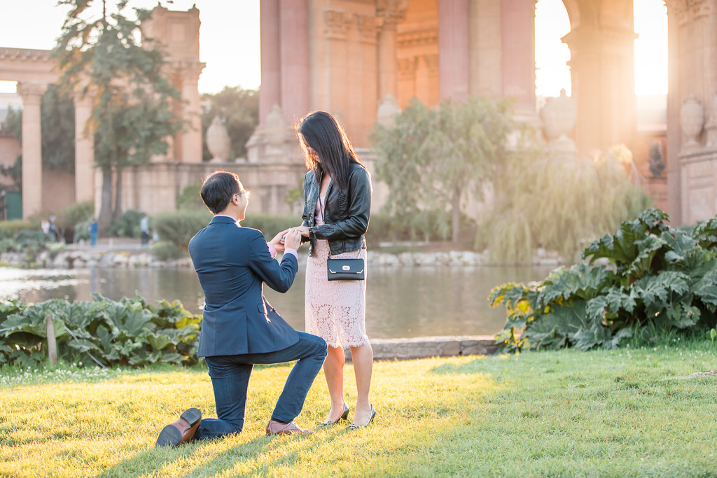 he surprised her with a beautiful diamond ring under the gorgeous sunset lighting