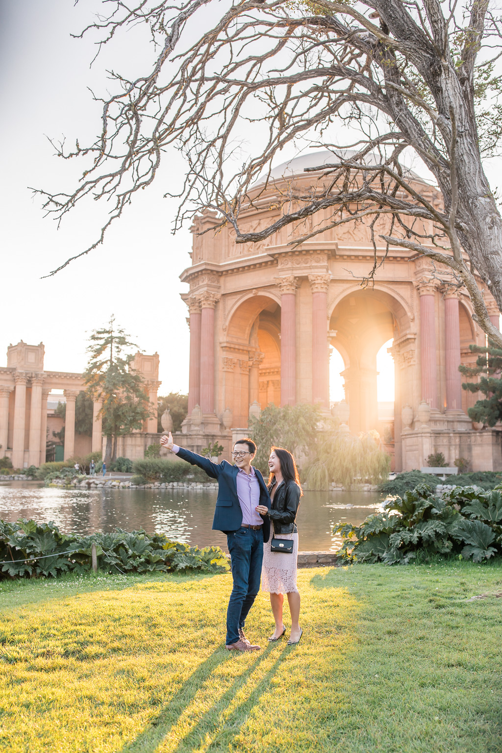 she said yes to his proposal in front of the Palace of Fine Arts dome