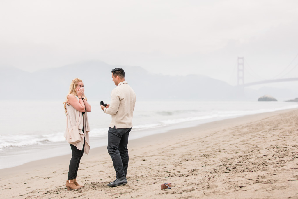 foggy golden gate bridge surprise marriage proposal