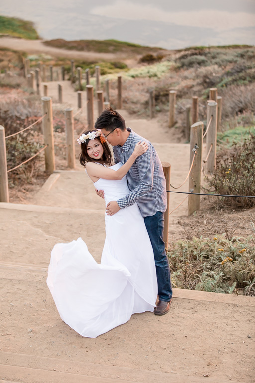 Lands End engagement photo with flower crown