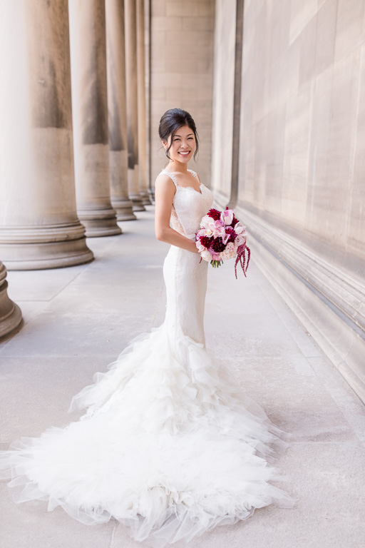bridal portrait at a building that looks just like Legion of Honor
