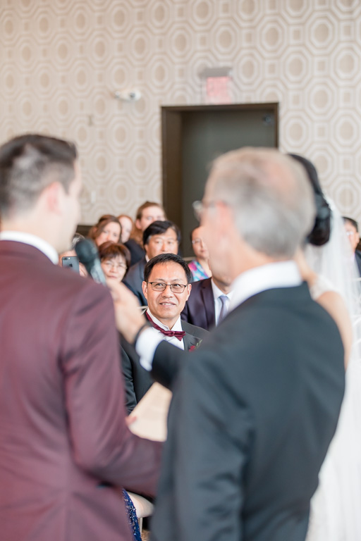 father of the bride's reaction during ceremony
