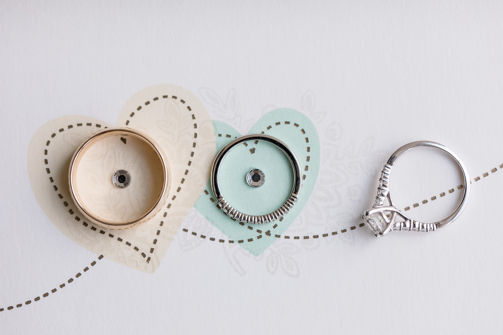 cute and creative shot of the wedding bands