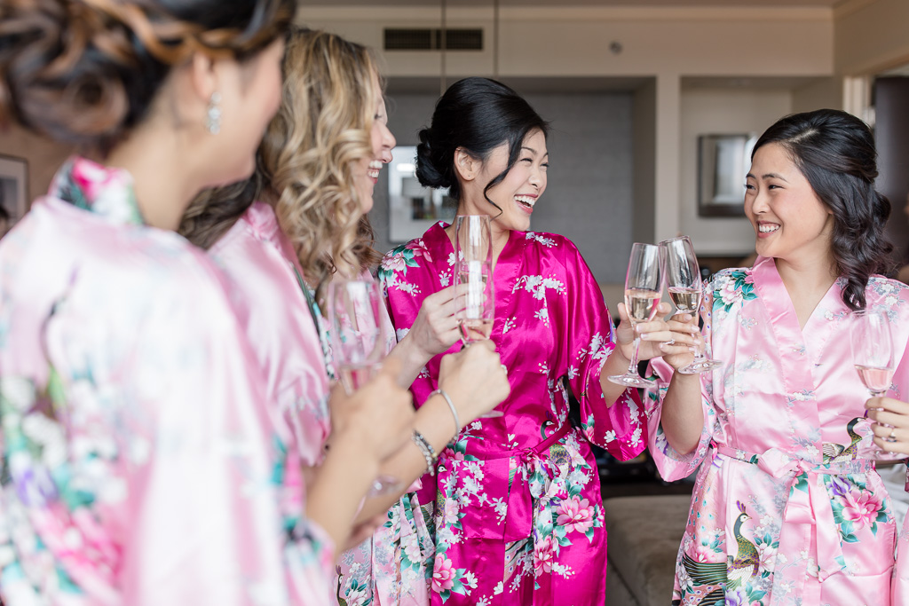 a toast with the bridesmaids