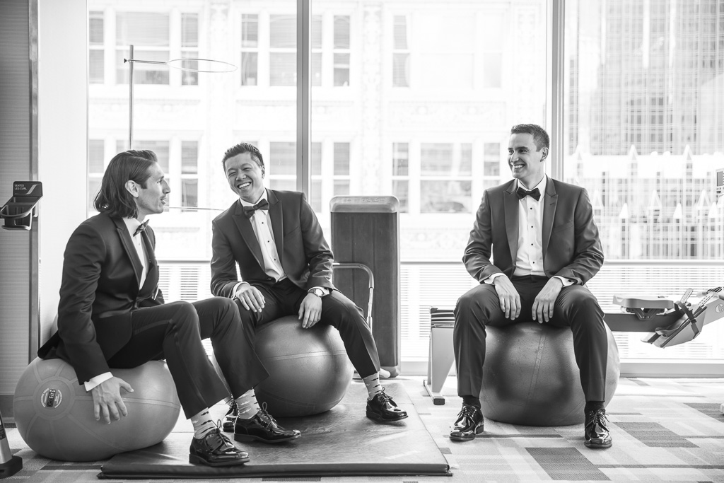 groom and groomsmen getting ready at fairmont pittsburgh