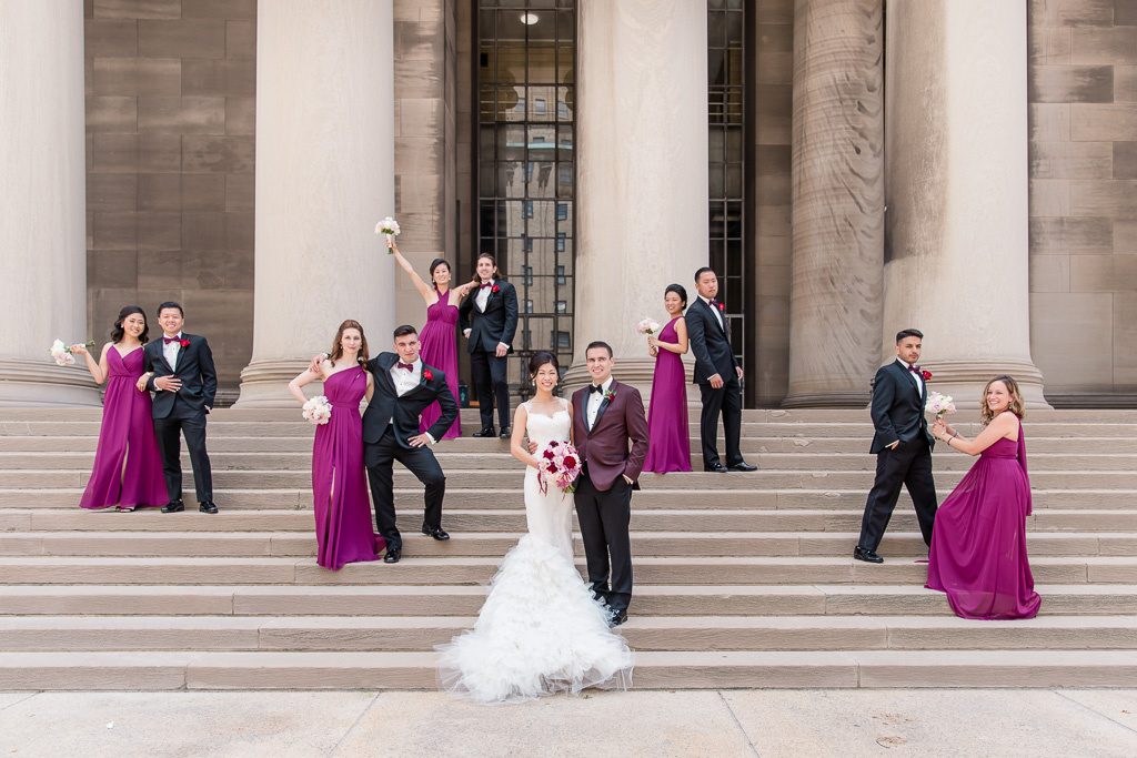 wedding party formal portrait at mellon institute library