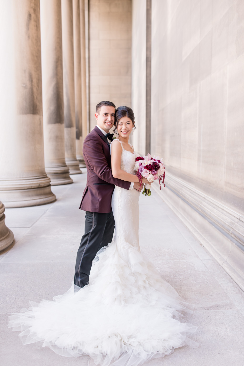 beautiful wedding portrait at the mellon institute library