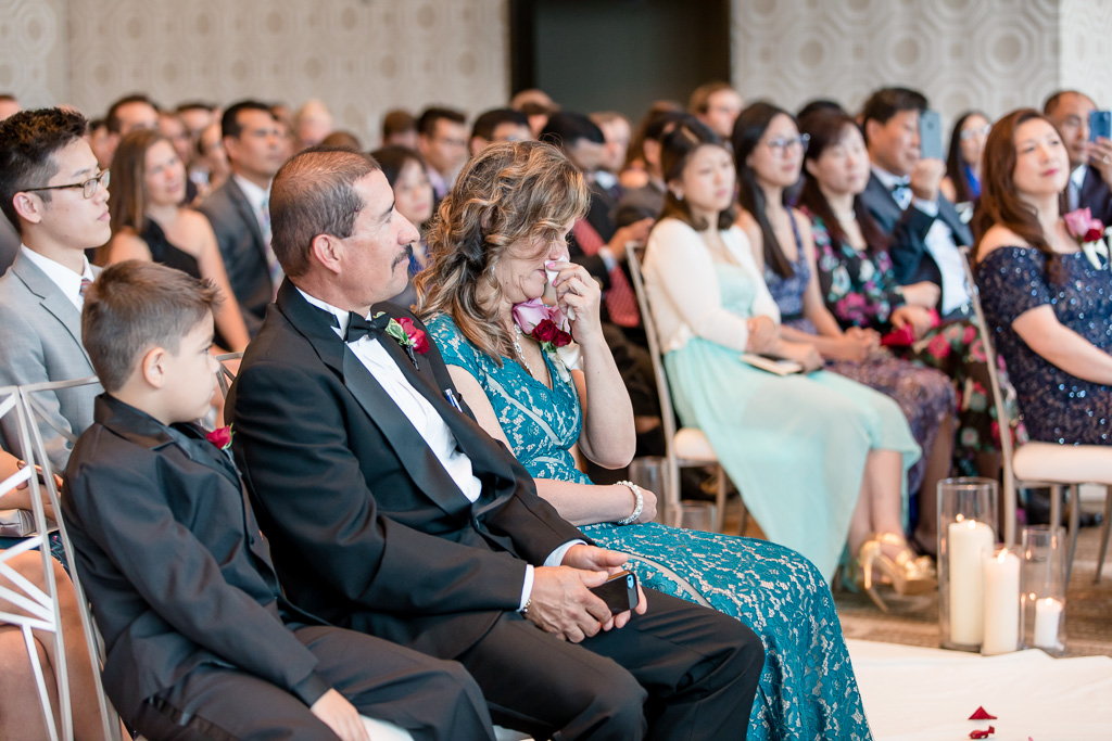 mother of the groom cried at the ceremony