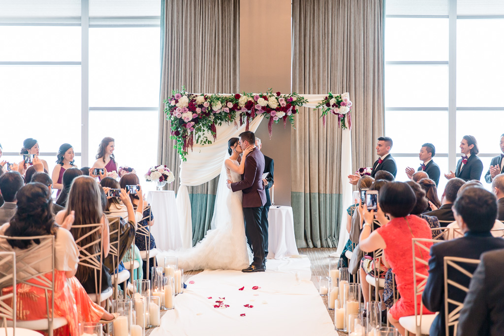 fairmont pittsburgh wedding ceremony - first kiss