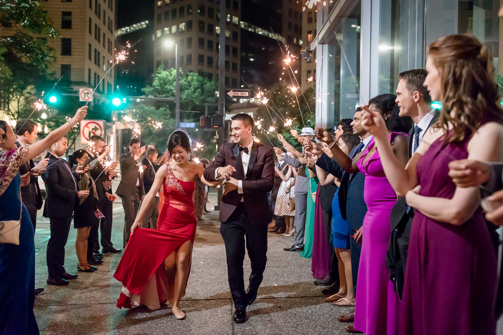 newlywed's sparkler exit outside fairmont pittsburgh
