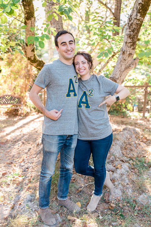 cute t-shirts with couple's' initials for their engagement photos