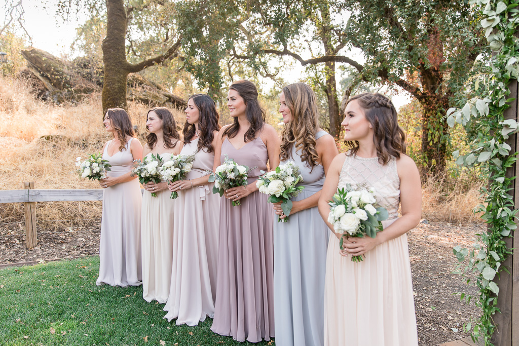 bridesmaids waiting for bride's grand entrance
