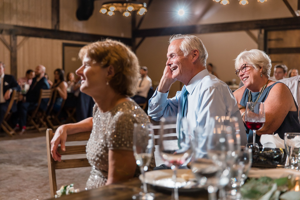 bride's parents' reaction to the speeches