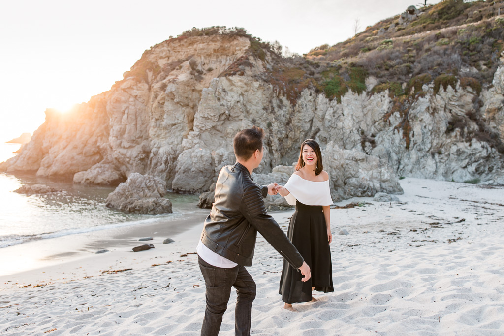 point lobos white sand beach engagement