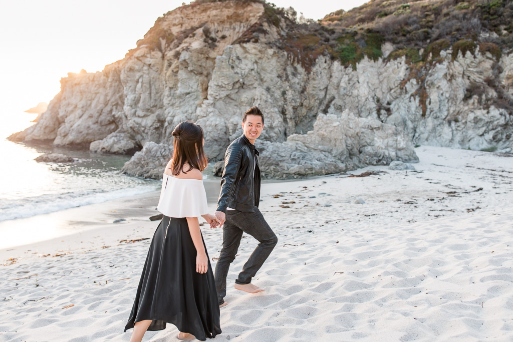 point lobos sunset beach engagement picture