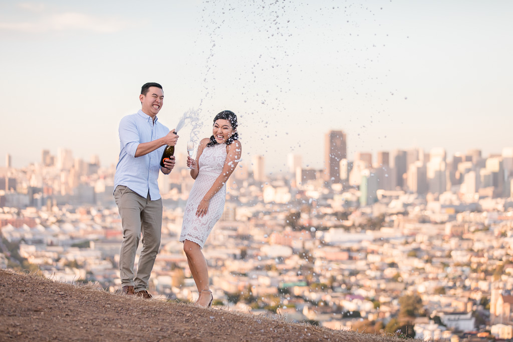 shaking up champagne at Bernal Heights