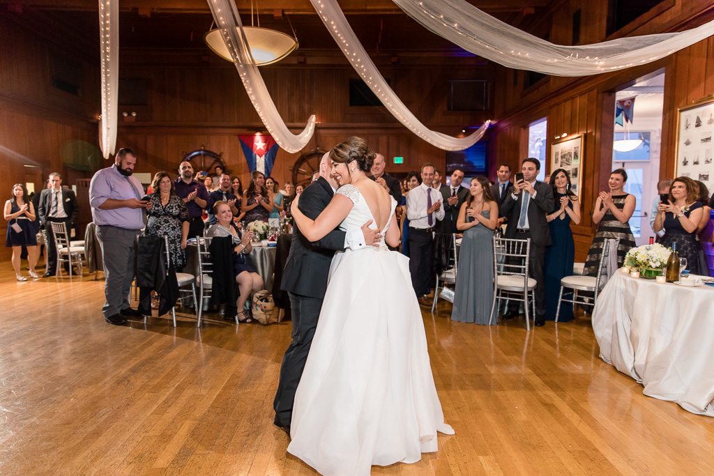 couple's first dance at Corinthian Yacht Club