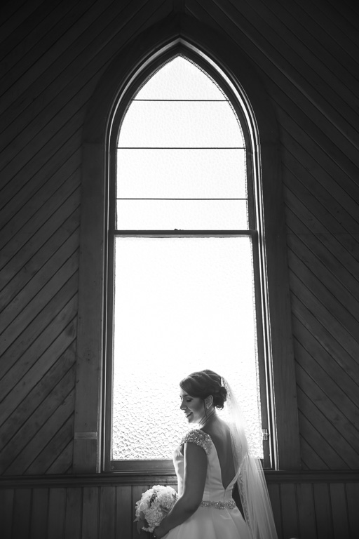 bridal portrait inside the Old St. Hilary's Church