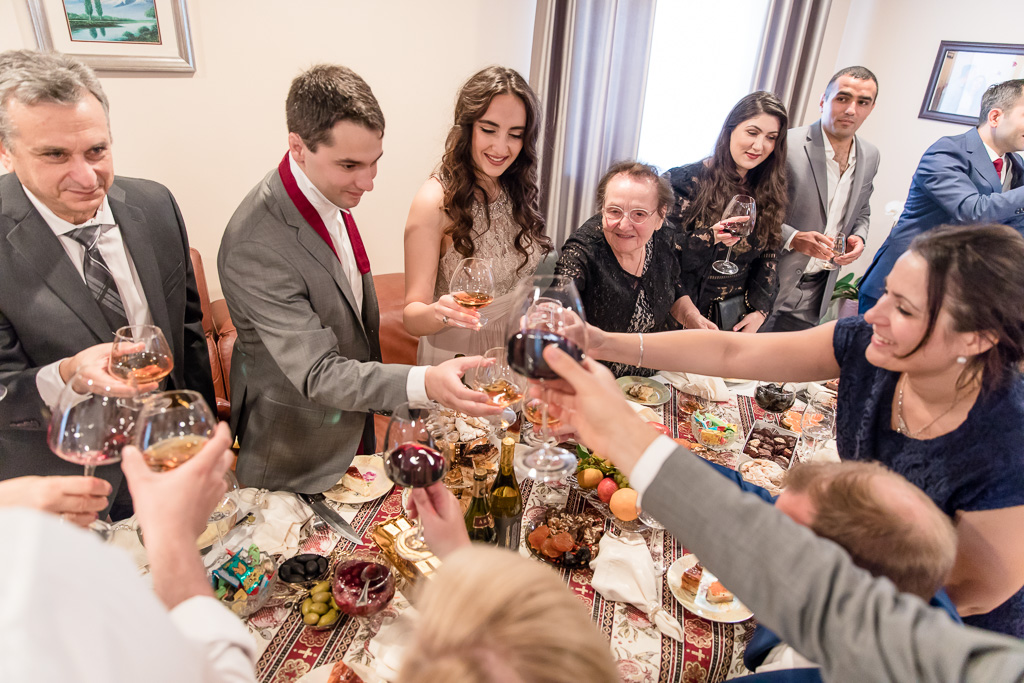 a round of toasts before the wedding ceremony