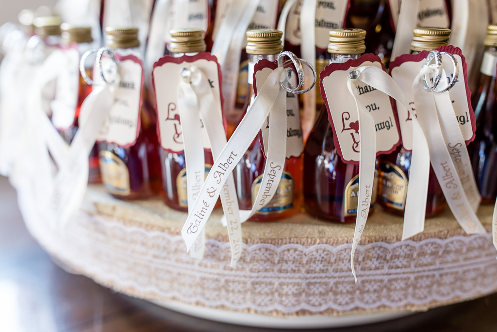 miniature cognac with bride and groom's names