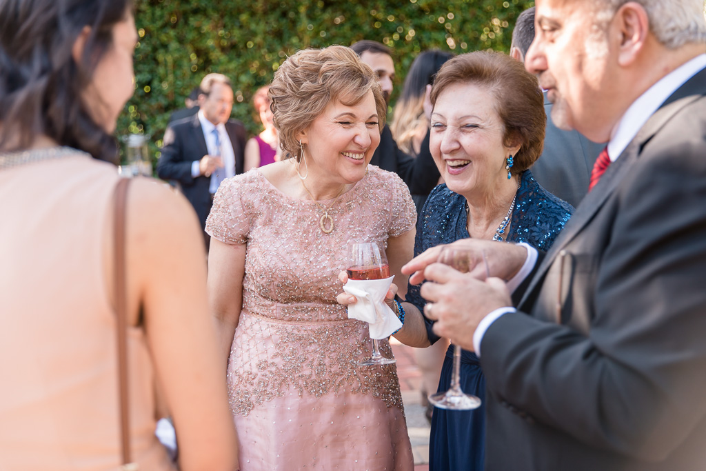 mother of the bride miggling with guests