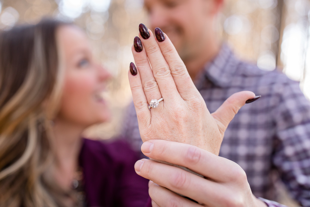 he spent a few months searching for this beautiful and special floating diamond ring for this big moment