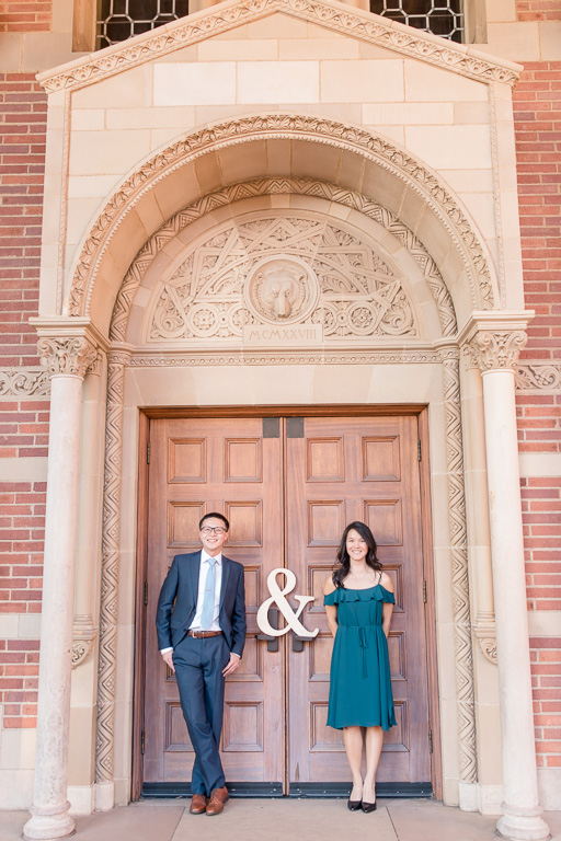 UCLA Royce Hall save the date engagement photo