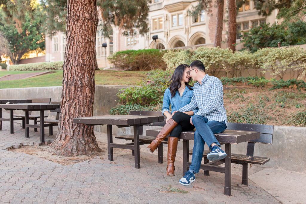 UCLA Bruin Walk Tables engagement photo