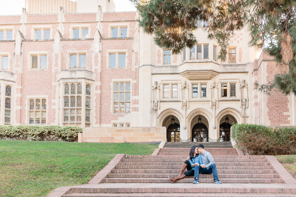 UCLA engagement photo in front of Kerckhoff Hall