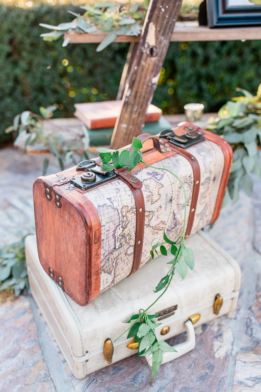 suitcases at the Regale winery wedding guest sign in area
