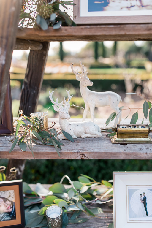 timeless wedding decoration pieces on a wooden ladder