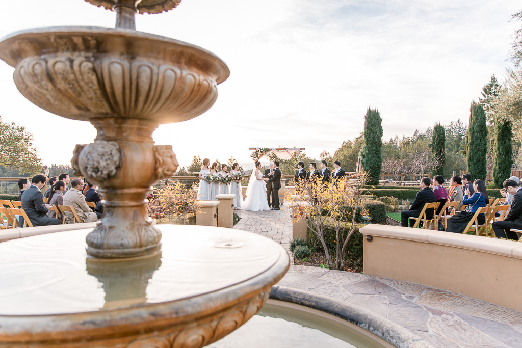 regale winery and vineyards wedding ceremony by the fountain