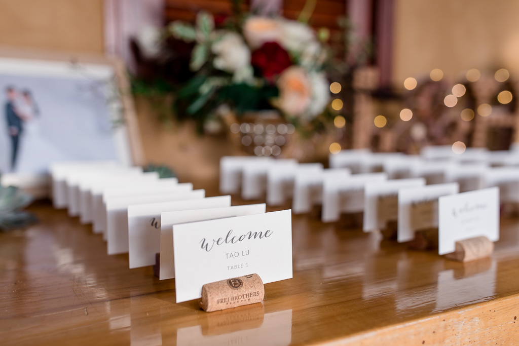 calligraphy placing cards