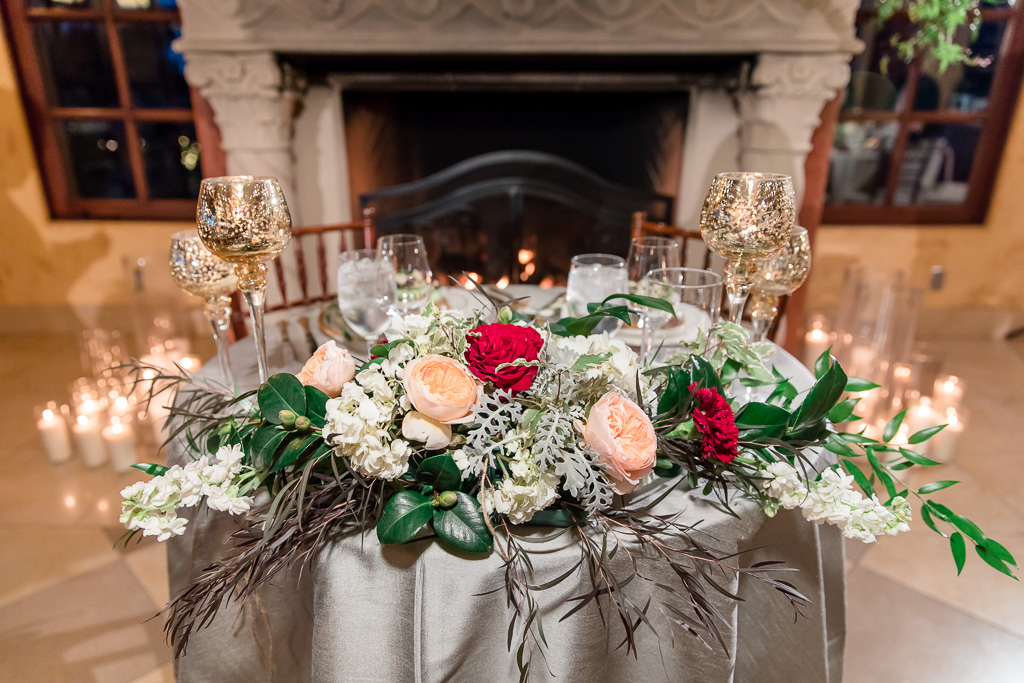 floral arrangement for sweetheart table