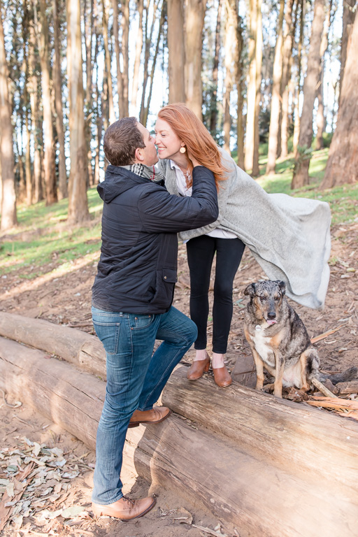 lover's lane trail engagement photo