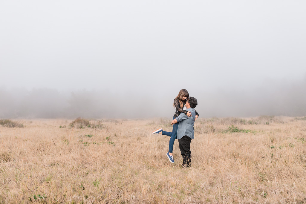 foggy point lobos engagement photo