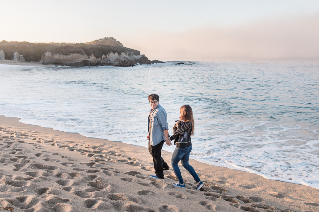monterey camel-by-the-sea beach engagement photo