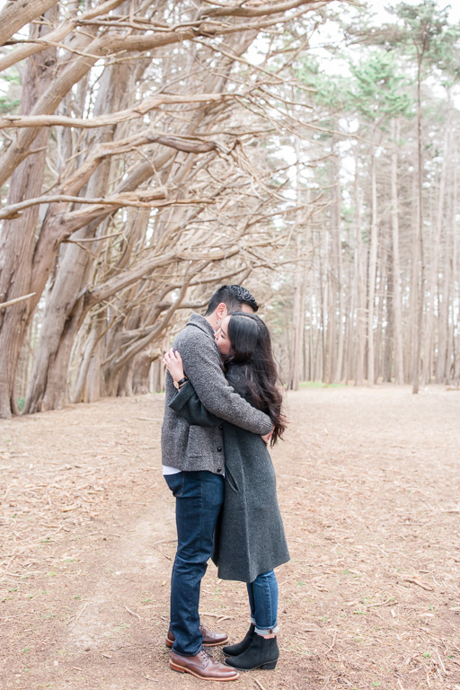 an emotional surprise engagement in the woods