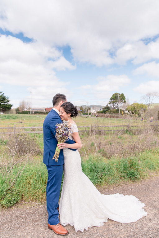 bride and groom's Point Reyes Station first look
