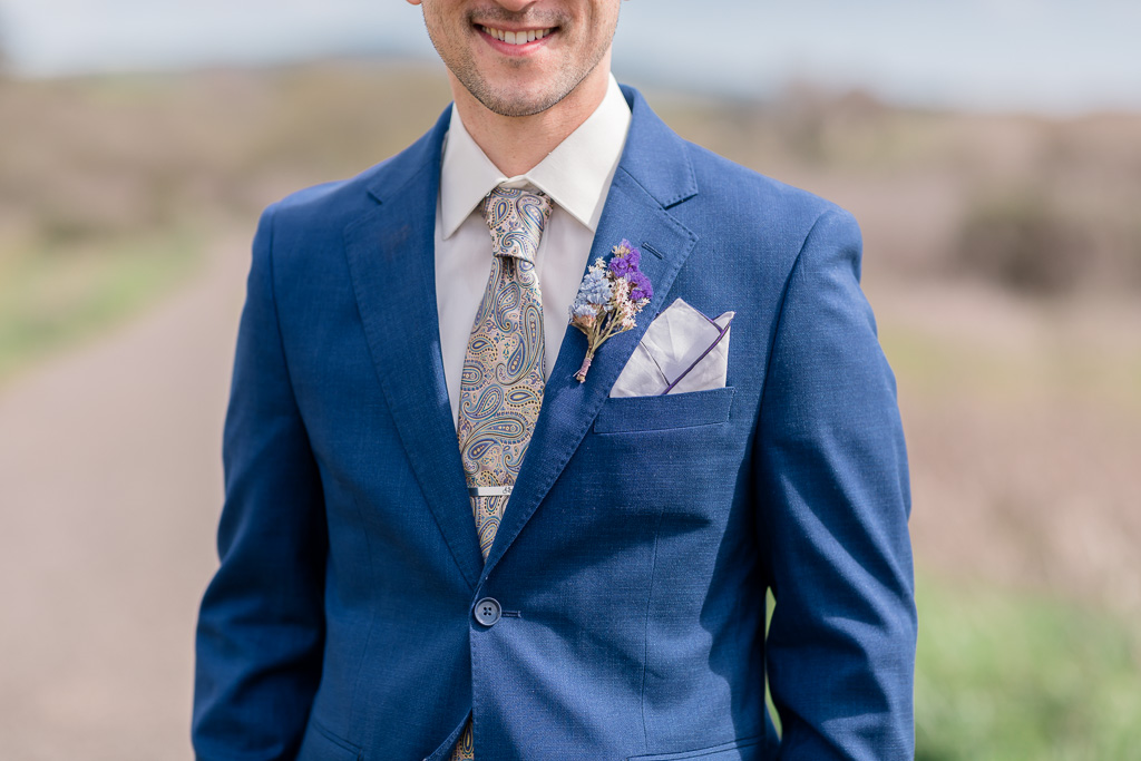 purple wedding boutonniere