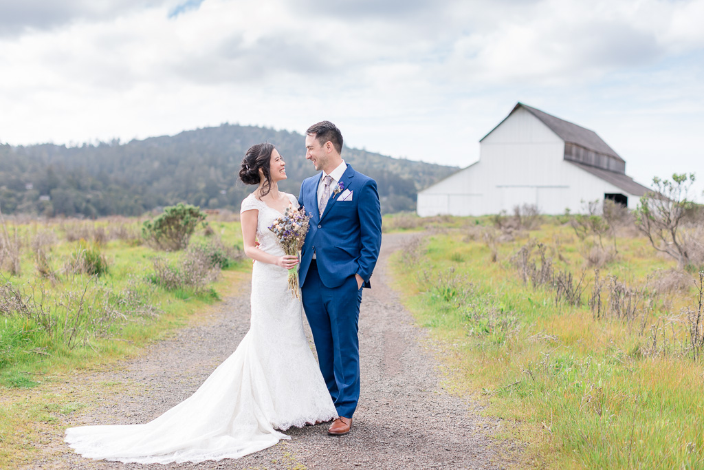 gorgeous mountain and barn backdrop for this Point Reyes wedding