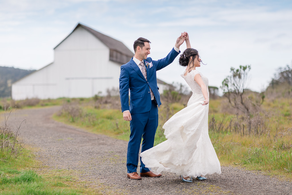 fun and candid Point Reyes Station wedding photo