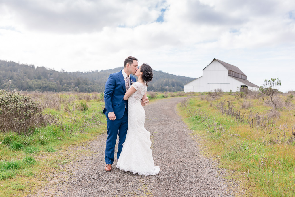 bride and groom couple portrait on Point Reyes wild trail