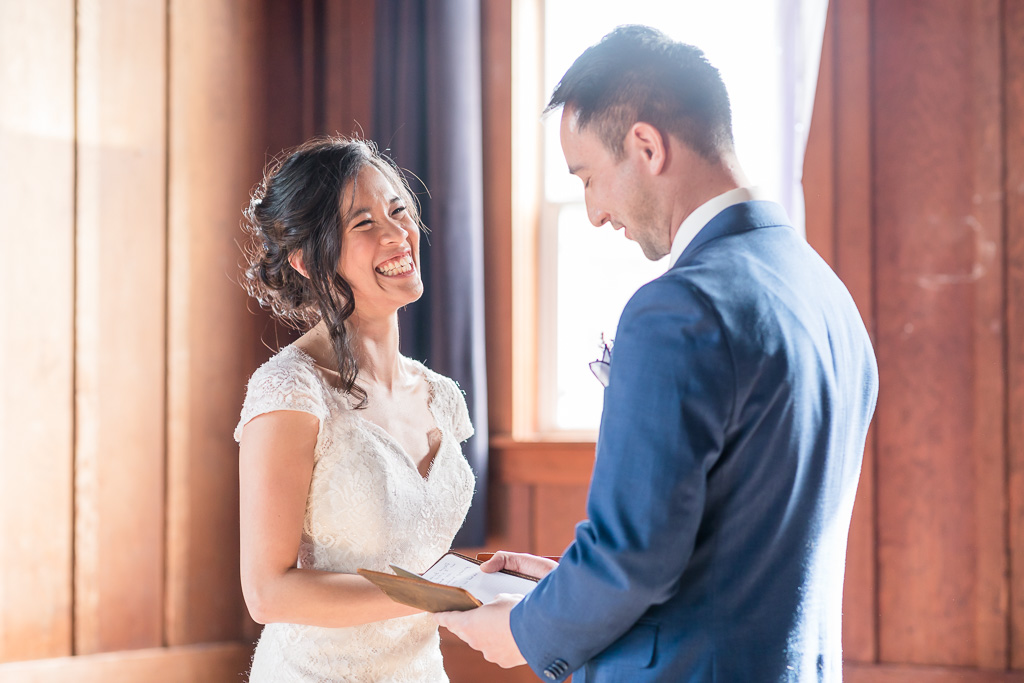 groom's well written vows made bride laughing really hard