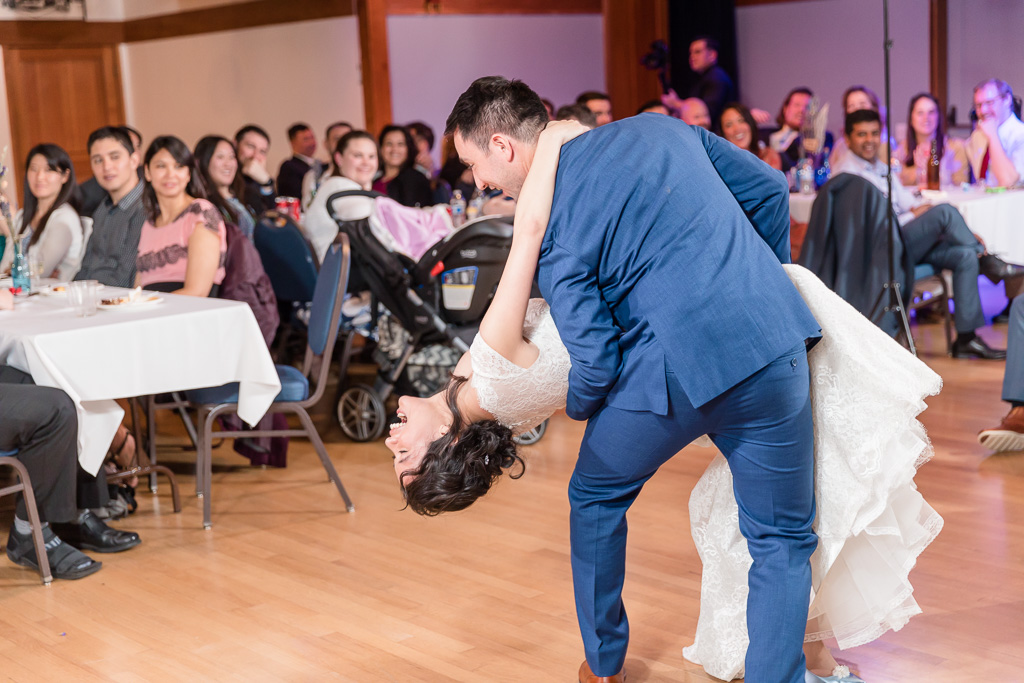 a dip at the end of their first dance