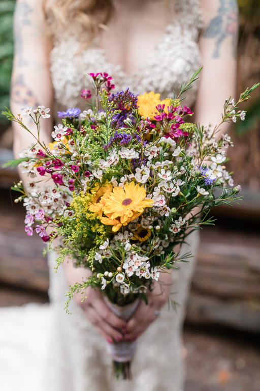 wildflower bouquet for a muir woods elopement