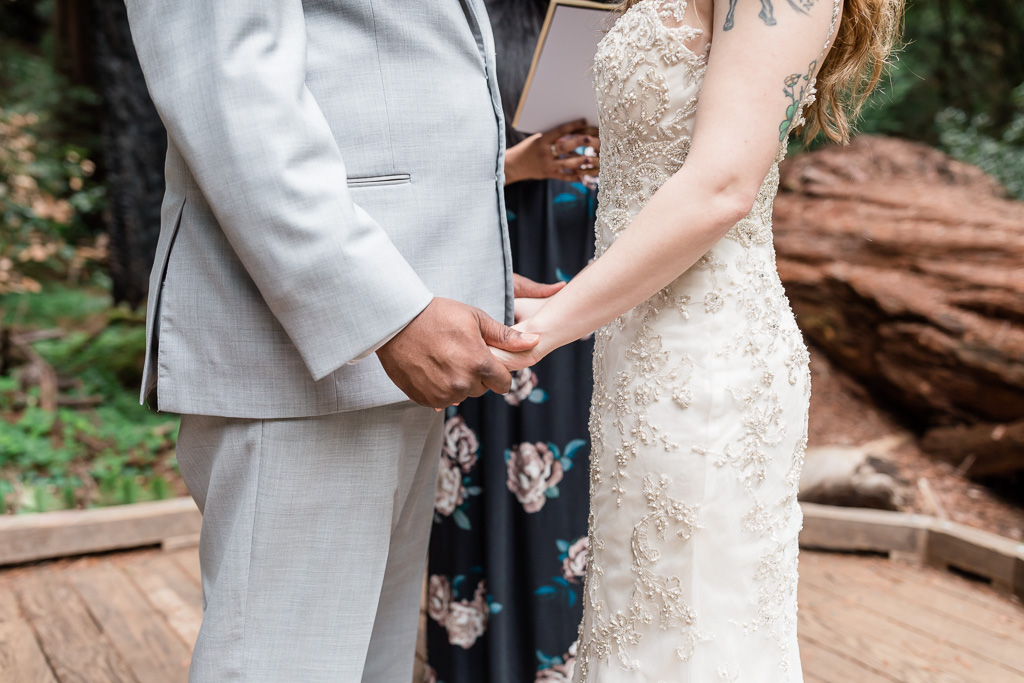 newlyweds holding hands