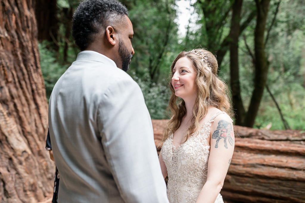 wedding ceremony in the redwoods